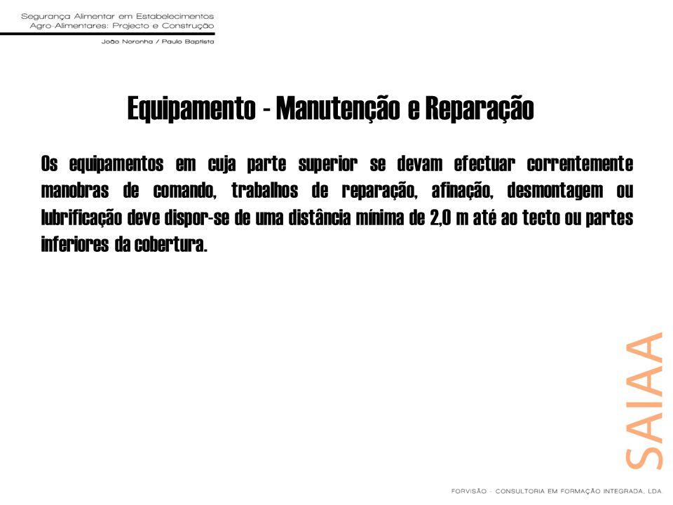 Equipamento - Manutenção e Reparação Os equipamentos em cuja parte superior se devam efectuar correntemente manobras de comando, trabalhos de reparaçã