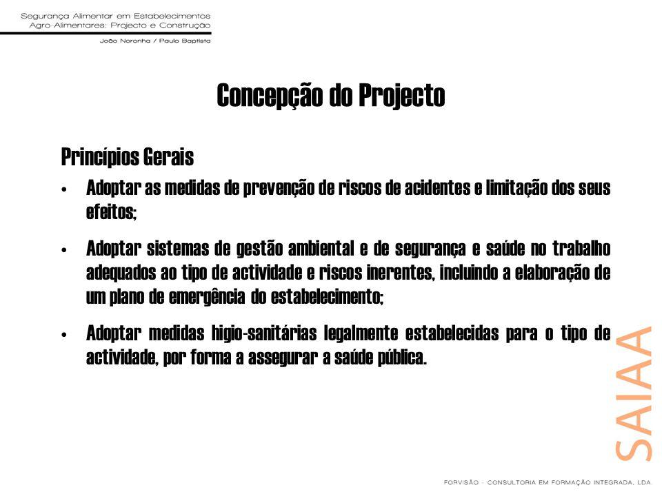 Concepção do Projecto Princípios Gerais Adoptar as medidas de prevenção de riscos de acidentes e limitação dos seus efeitos; Adoptar sistemas de gestã