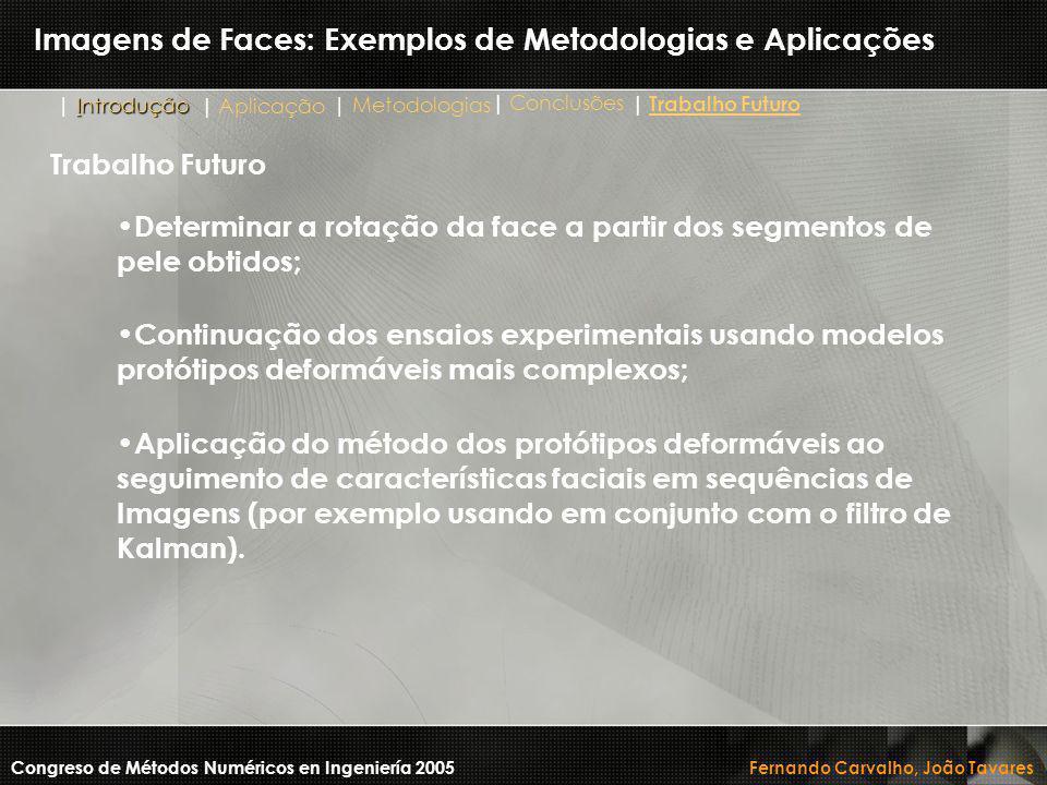 Imagens de Faces: Exemplos de Metodologias e Aplicações Determinar a rotação da face a partir dos segmentos de pele obtidos; Continuação dos ensaios e