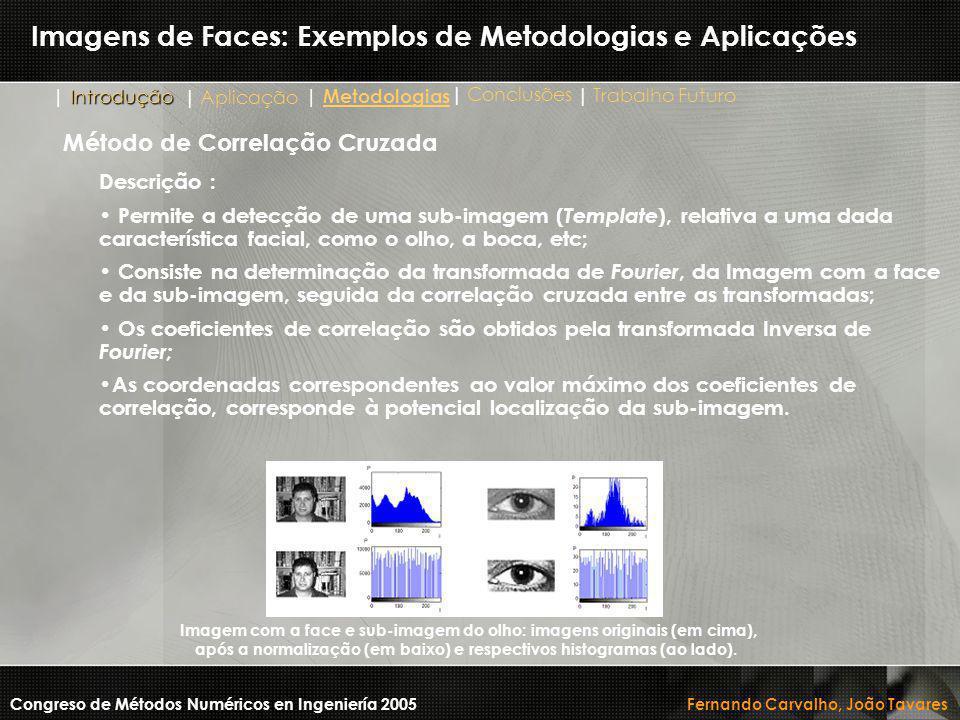 Imagens de Faces: Exemplos de Metodologias e Aplicações Descrição : Permite a detecção de uma sub-imagem ( Template ), relativa a uma dada característ