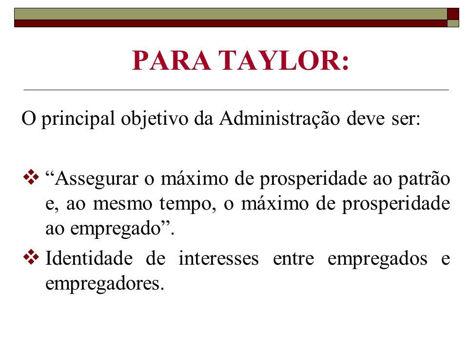 """PARA TAYLOR: O principal objetivo da Administração deve ser:  """"Assegurar o máximo de prosperidade ao patrão e, ao mesmo tempo, o máximo de prosperida"""