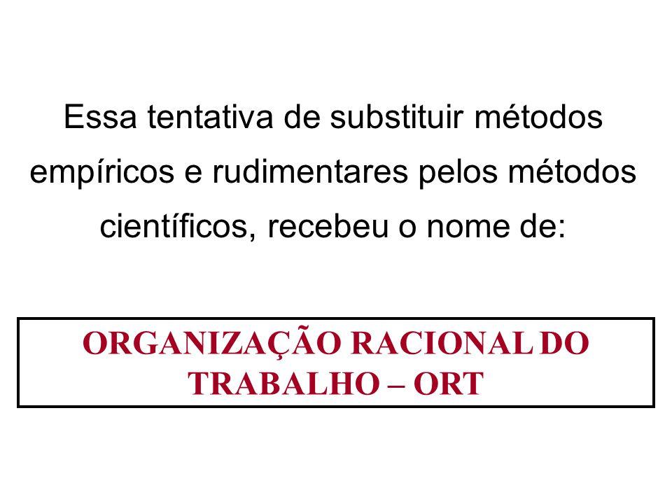ORGANIZAÇÃO RACIONAL DO TRABALHO – ORT Essa tentativa de substituir métodos empíricos e rudimentares pelos métodos científicos, recebeu o nome de: