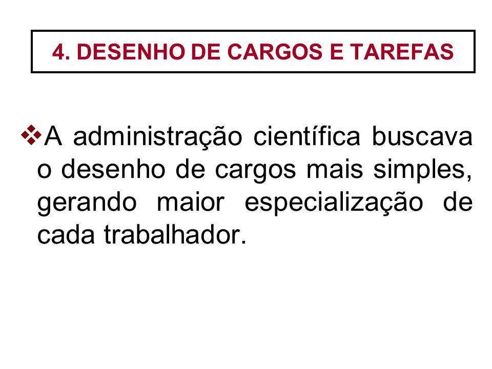4. DESENHO DE CARGOS E TAREFAS  A administração científica buscava o desenho de cargos mais simples, gerando maior especialização de cada trabalhador