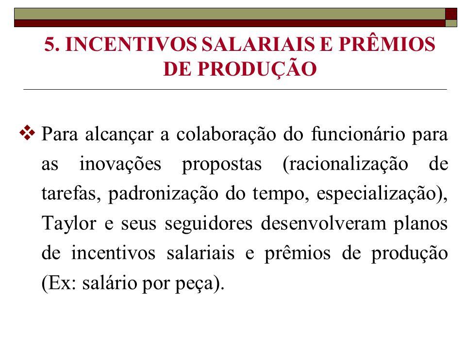 5. INCENTIVOS SALARIAIS E PRÊMIOS DE PRODUÇÃO  Para alcançar a colaboração do funcionário para as inovações propostas (racionalização de tarefas, pad