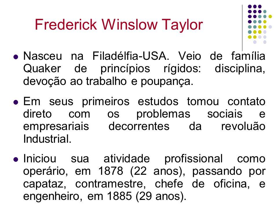 Frederick Winslow Taylor Nasceu na Filadélfia-USA. Veio de família Quaker de princípios rígidos: disciplina, devoção ao trabalho e poupança. Em seus p