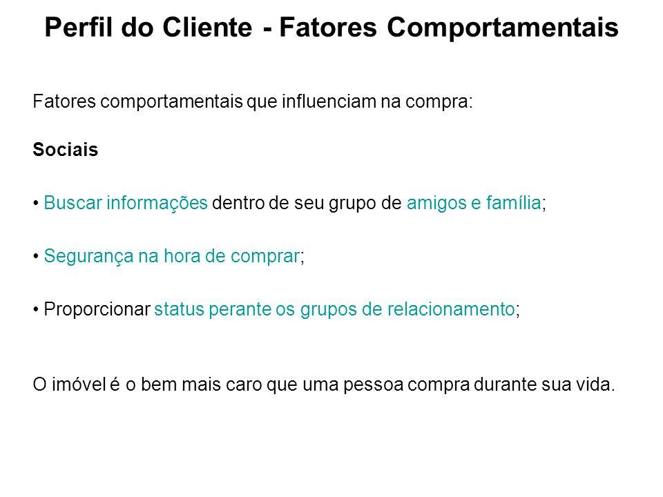 Perfil do Cliente - Fatores Comportamentais Fatores comportamentais que influenciam na compra: Sociais Buscar informações dentro de seu grupo de amigo