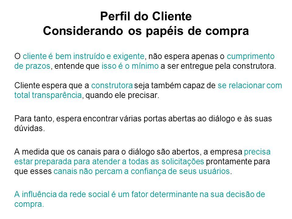 Perfil do Cliente Considerando os papéis de compra O cliente é bem instruído e exigente, não espera apenas o cumprimento de prazos, entende que isso é