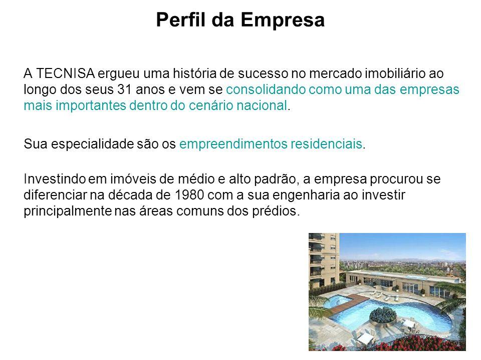 Perfil da Empresa A TECNISA ergueu uma história de sucesso no mercado imobiliário ao longo dos seus 31 anos e vem se consolidando como uma das empresa