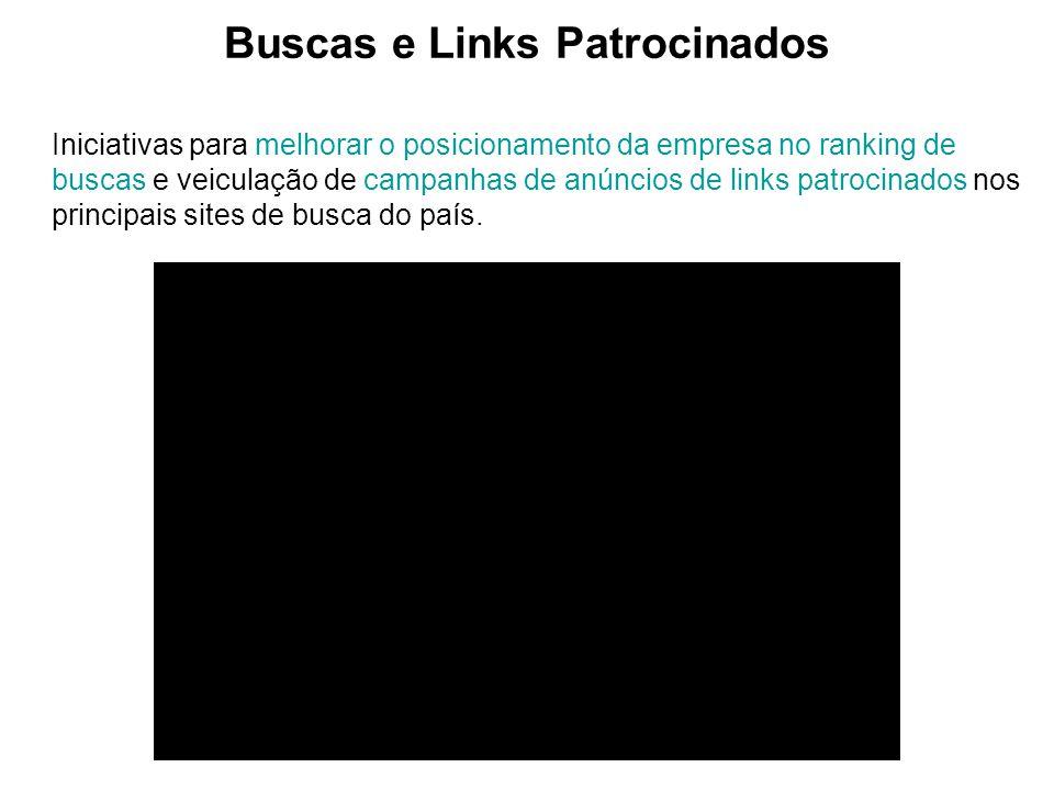 Buscas e Links Patrocinados Iniciativas para melhorar o posicionamento da empresa no ranking de buscas e veiculação de campanhas de anúncios de links