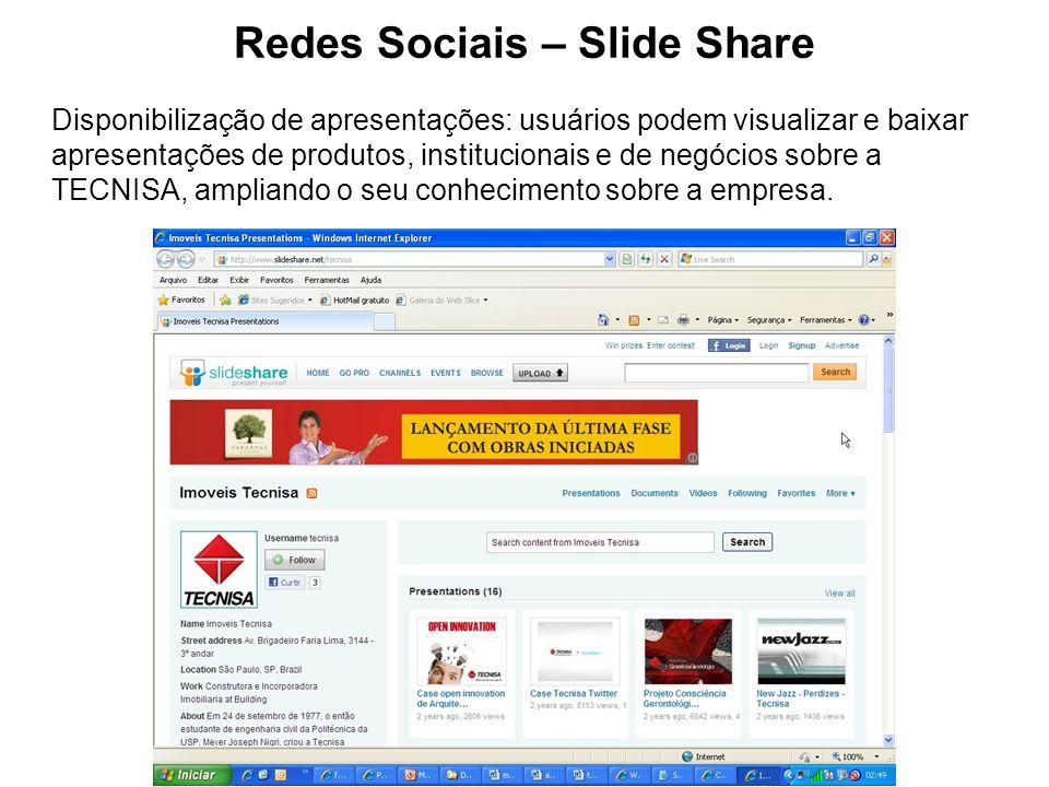 Redes Sociais – Slide Share Disponibilização de apresentações: usuários podem visualizar e baixar apresentações de produtos, institucionais e de negóc