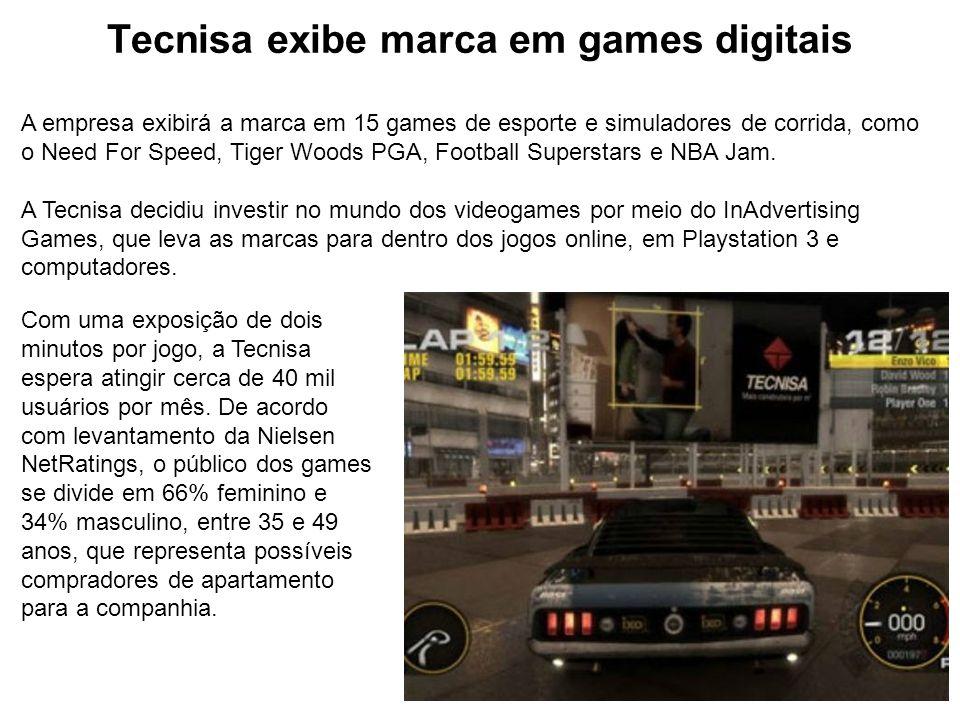 Tecnisa exibe marca em games digitais A empresa exibirá a marca em 15 games de esporte e simuladores de corrida, como o Need For Speed, Tiger Woods PG