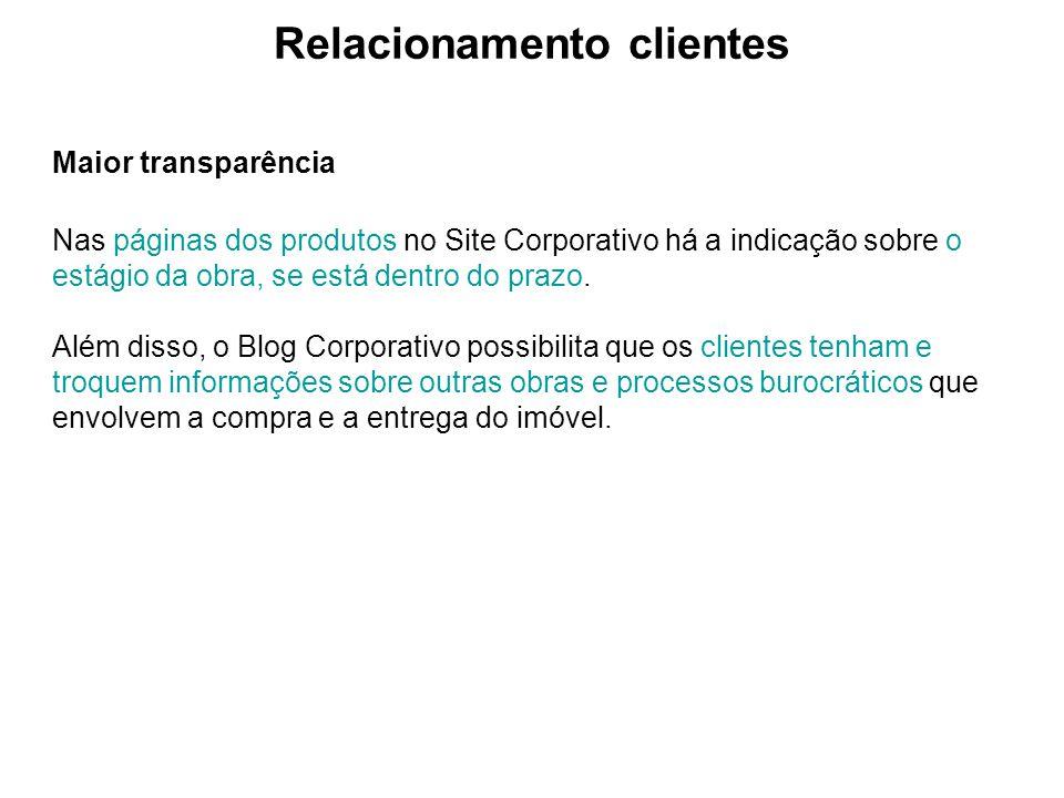 Relacionamento clientes Maior transparência Nas páginas dos produtos no Site Corporativo há a indicação sobre o estágio da obra, se está dentro do pra