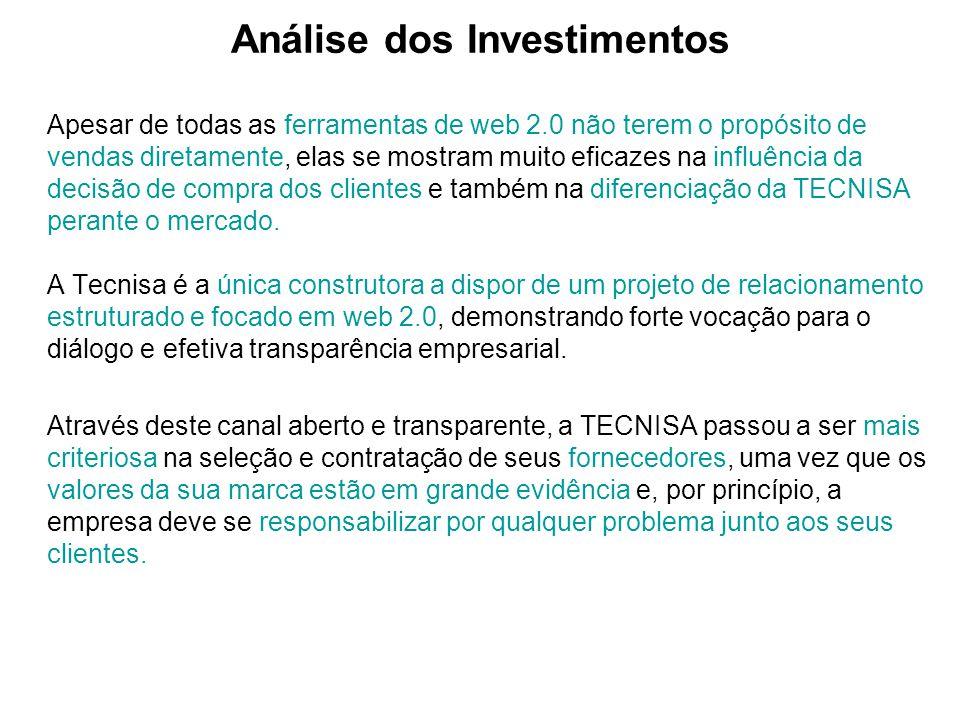 Análise dos Investimentos Apesar de todas as ferramentas de web 2.0 não terem o propósito de vendas diretamente, elas se mostram muito eficazes na inf