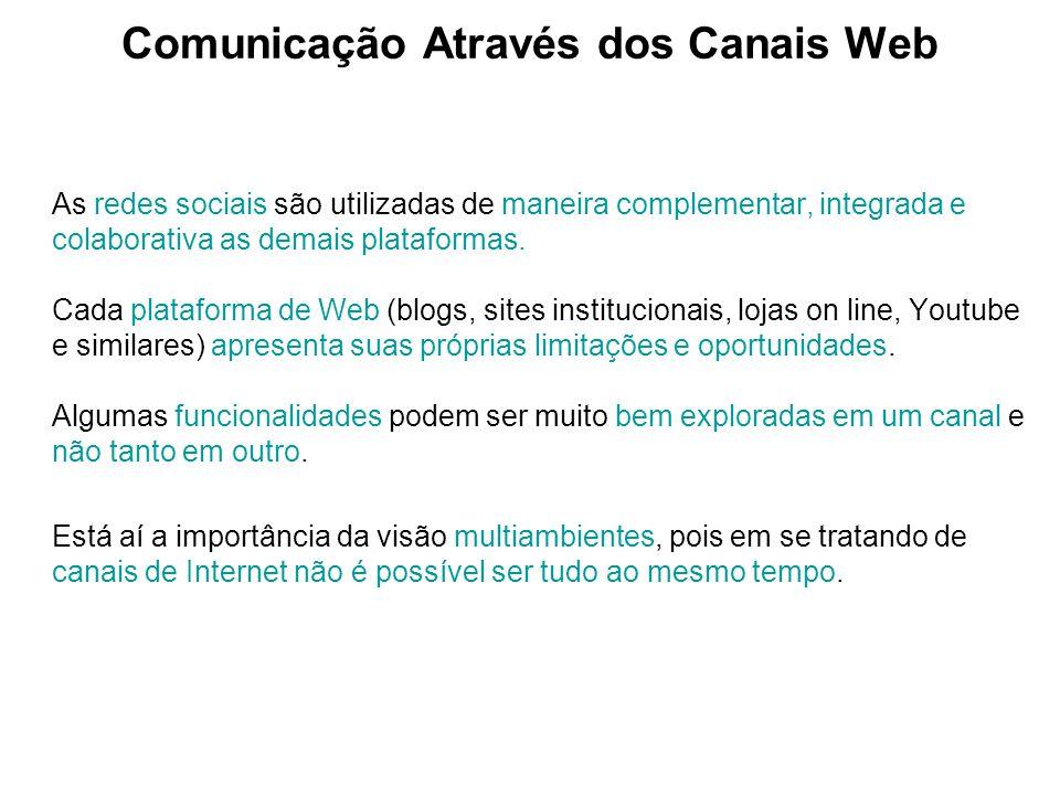 Comunicação Através dos Canais Web As redes sociais são utilizadas de maneira complementar, integrada e colaborativa as demais plataformas. Cada plata