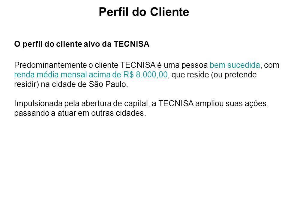 O perfil do cliente alvo da TECNISA Predominantemente o cliente TECNISA é uma pessoa bem sucedida, com renda média mensal acima de R$ 8.000,00, que re