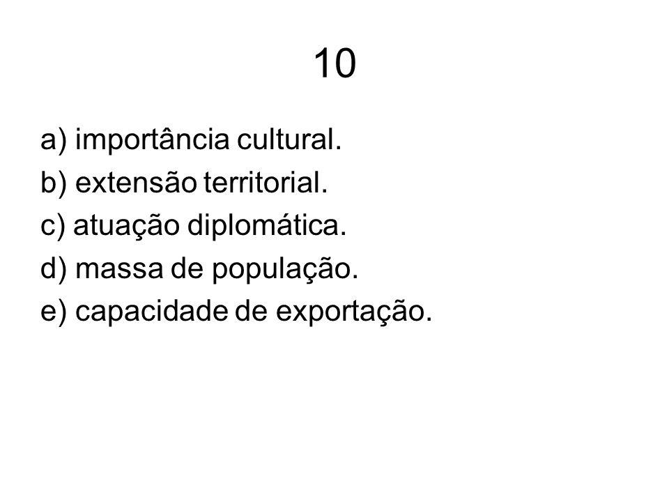 10 a) importância cultural. b) extensão territorial. c) atuação diplomática. d) massa de população. e) capacidade de exportação.