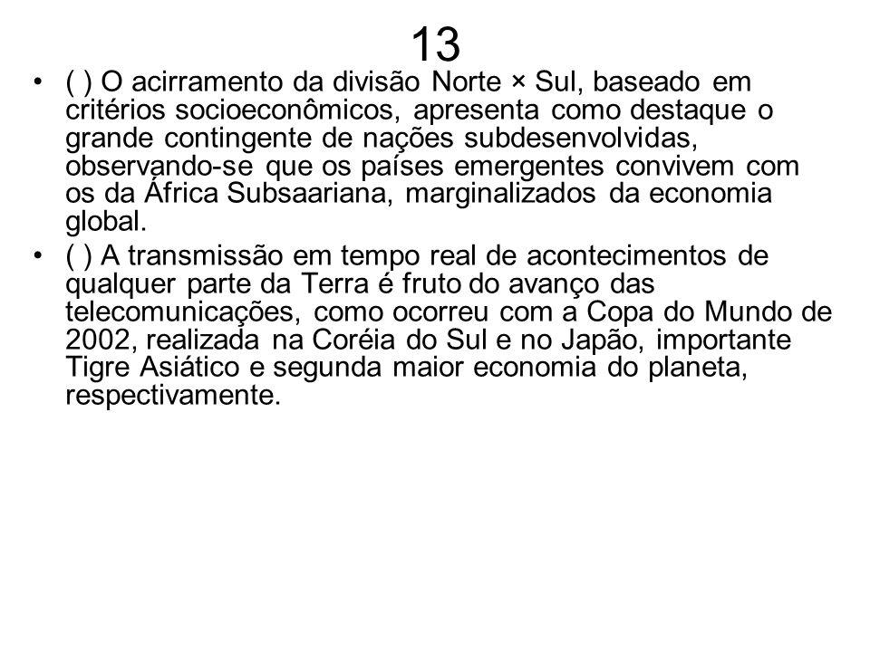 13 ( ) O acirramento da divisão Norte × Sul, baseado em critérios socioeconômicos, apresenta como destaque o grande contingente de nações subdesenvolv
