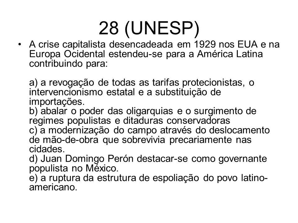 28 (UNESP) A crise capitalista desencadeada em 1929 nos EUA e na Europa Ocidental estendeu-se para a América Latina contribuindo para: a) a revogação