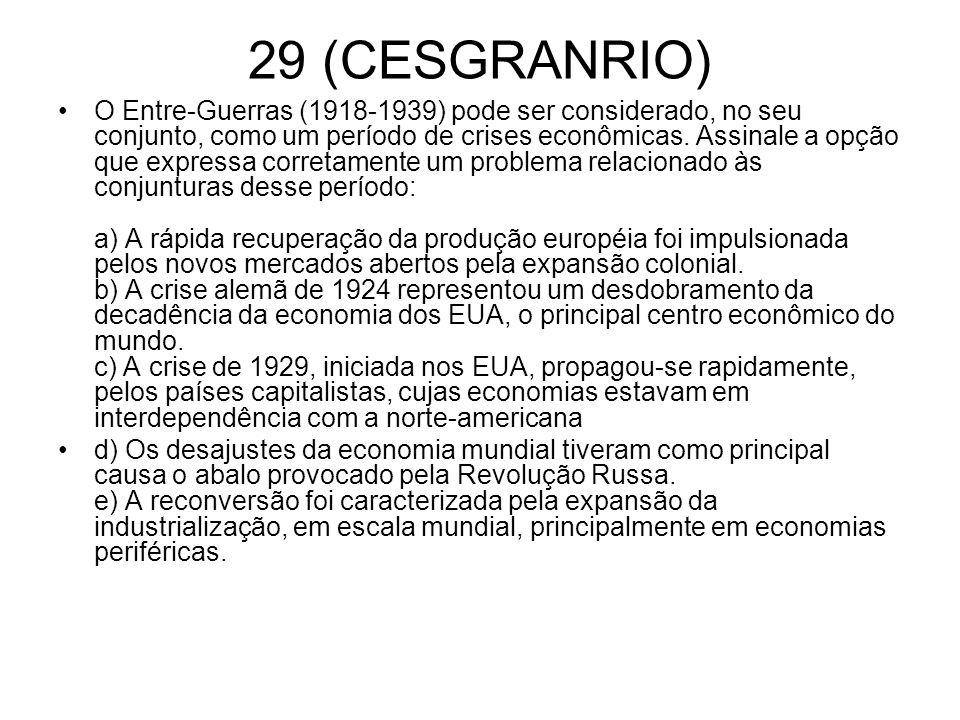 29 (CESGRANRIO) O Entre-Guerras (1918-1939) pode ser considerado, no seu conjunto, como um período de crises econômicas. Assinale a opção que expressa