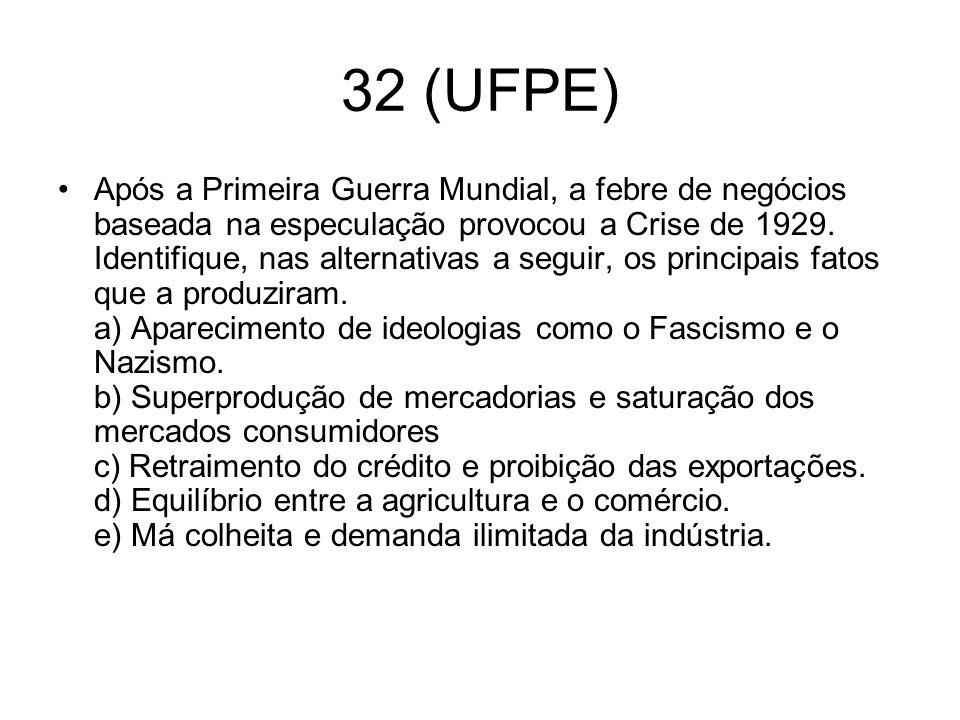 32 (UFPE) Após a Primeira Guerra Mundial, a febre de negócios baseada na especulação provocou a Crise de 1929. Identifique, nas alternativas a seguir,