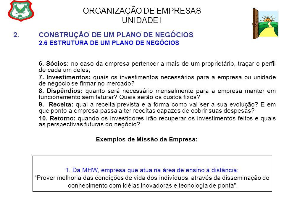 ORGANIZAÇÃO DE EMPRESAS UNIDADE I 2.CONSTRUÇÃO DE UM PLANO DE NEGÓCIOS 2.6 ESTRUTURA DE UM PLANO DE NEGÓCIOS 6. Sócios: no caso da empresa pertencer a