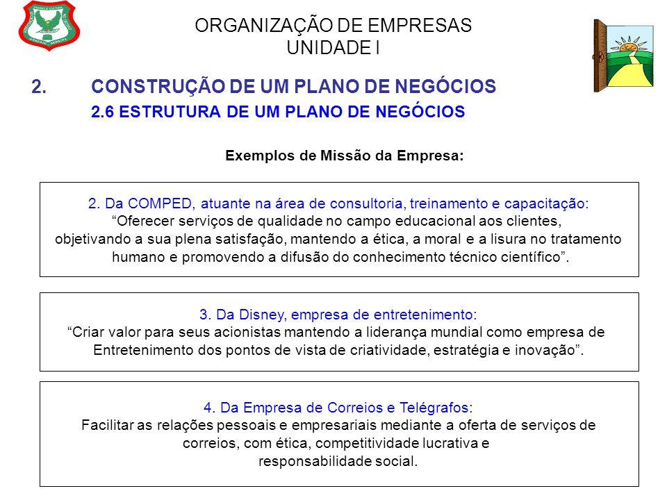ORGANIZAÇÃO DE EMPRESAS UNIDADE I 2.CONSTRUÇÃO DE UM PLANO DE NEGÓCIOS 2.6 ESTRUTURA DE UM PLANO DE NEGÓCIOS Exemplos de Missão da Empresa: 2. Da COMP