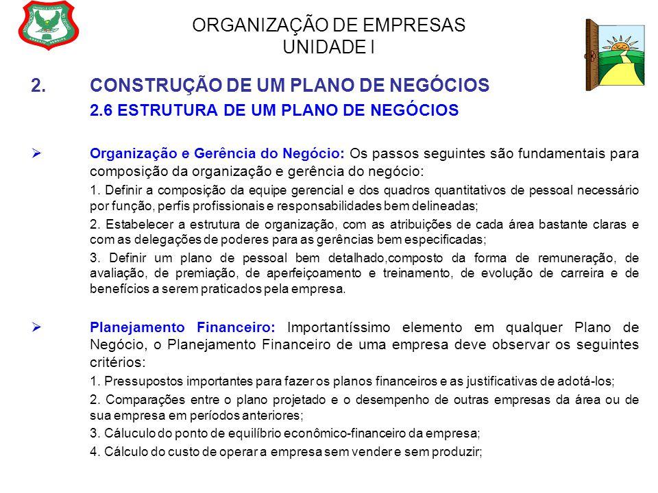 ORGANIZAÇÃO DE EMPRESAS UNIDADE I 2.CONSTRUÇÃO DE UM PLANO DE NEGÓCIOS 2.6 ESTRUTURA DE UM PLANO DE NEGÓCIOS  Organização e Gerência do Negócio: Os p