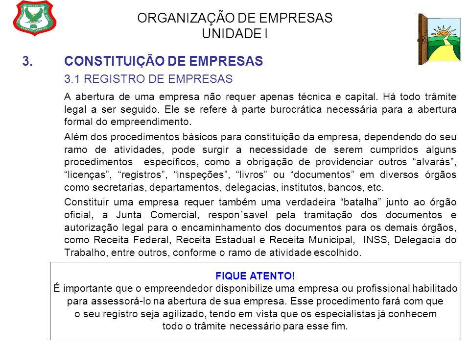 ORGANIZAÇÃO DE EMPRESAS UNIDADE I 3.CONSTITUIÇÃO DE EMPRESAS 3.1 REGISTRO DE EMPRESAS A abertura de uma empresa não requer apenas técnica e capital. H