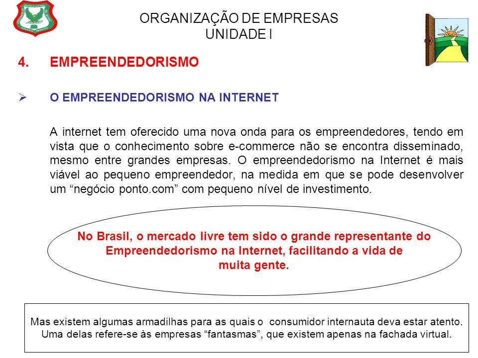 ORGANIZAÇÃO DE EMPRESAS UNIDADE I 4. EMPREENDEDORISMO  O EMPREENDEDORISMO NA INTERNET A internet tem oferecido uma nova onda para os empreendedores,