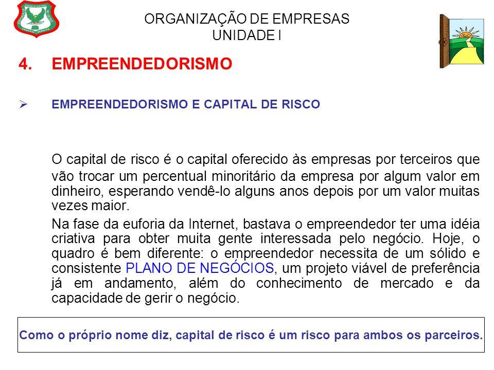 ORGANIZAÇÃO DE EMPRESAS UNIDADE I 4. EMPREENDEDORISMO  EMPREENDEDORISMO E CAPITAL DE RISCO O capital de risco é o capital oferecido às empresas por t