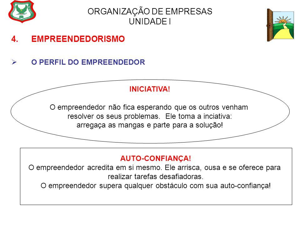 ORGANIZAÇÃO DE EMPRESAS UNIDADE I 4. EMPREENDEDORISMO  O PERFIL DO EMPREENDEDOR INICIATIVA! O empreendedor não fica esperando que os outros venham re