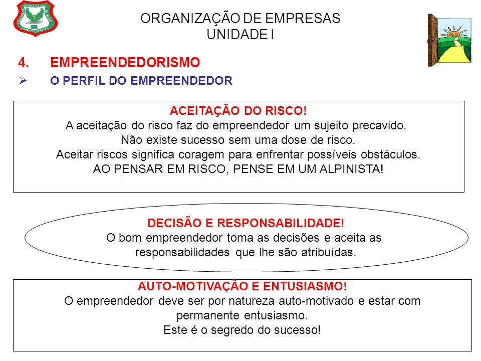ORGANIZAÇÃO DE EMPRESAS UNIDADE I 4. EMPREENDEDORISMO  O PERFIL DO EMPREENDEDOR ACEITAÇÃO DO RISCO! A aceitação do risco faz do empreendedor um sujei