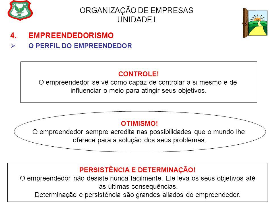 ORGANIZAÇÃO DE EMPRESAS UNIDADE I 4. EMPREENDEDORISMO  O PERFIL DO EMPREENDEDOR OTIMISMO! O empreendedor sempre acredita nas possibilidades que o mun