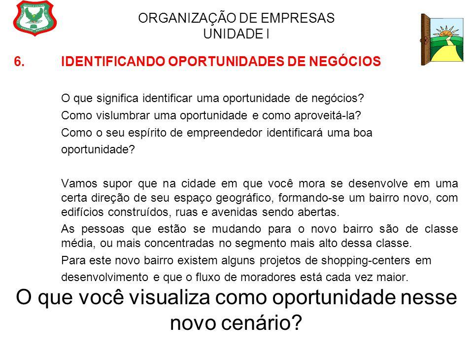 ORGANIZAÇÃO DE EMPRESAS UNIDADE I 6. IDENTIFICANDO OPORTUNIDADES DE NEGÓCIOS O que significa identificar uma oportunidade de negócios? Como vislumbrar