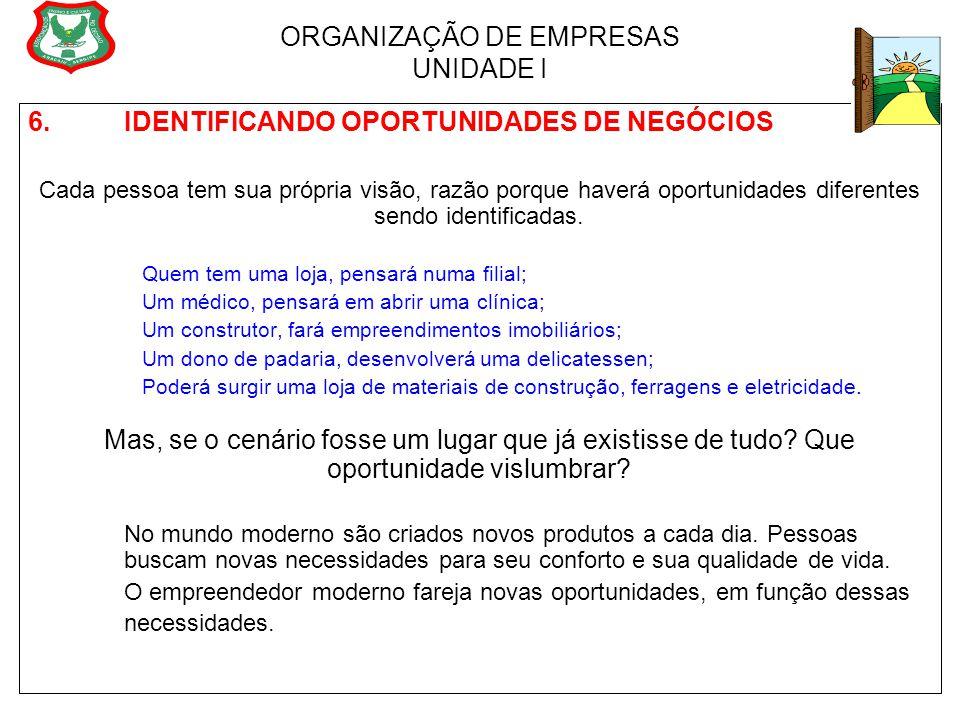 ORGANIZAÇÃO DE EMPRESAS UNIDADE I 6. IDENTIFICANDO OPORTUNIDADES DE NEGÓCIOS Cada pessoa tem sua própria visão, razão porque haverá oportunidades dife