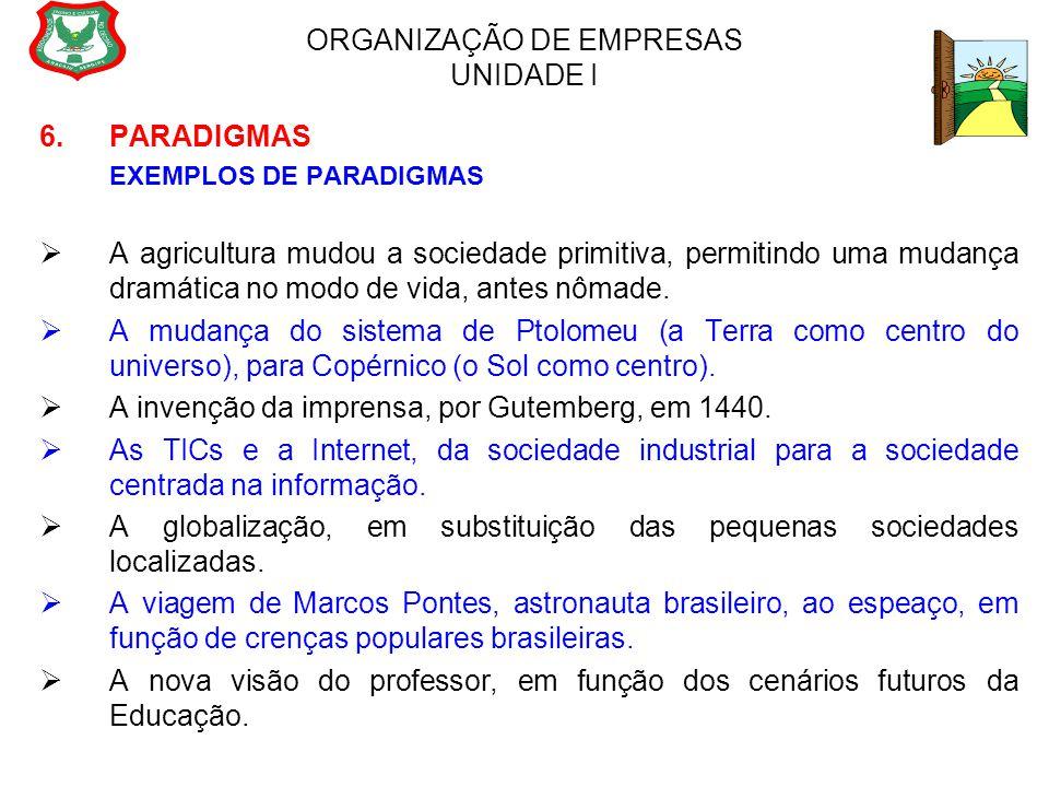 ORGANIZAÇÃO DE EMPRESAS UNIDADE I 6.PARADIGMAS EXEMPLOS DE PARADIGMAS  A agricultura mudou a sociedade primitiva, permitindo uma mudança dramática no
