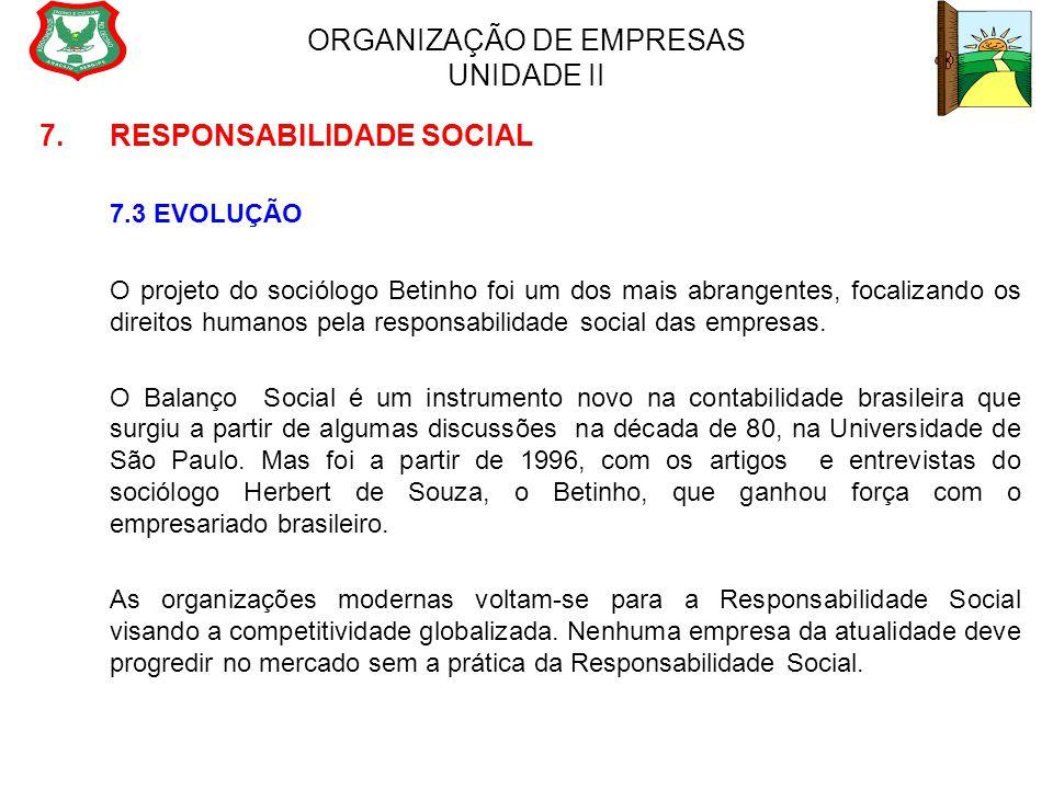 ORGANIZAÇÃO DE EMPRESAS UNIDADE II 7. RESPONSABILIDADE SOCIAL 7.3 EVOLUÇÃO O projeto do sociólogo Betinho foi um dos mais abrangentes, focalizando os