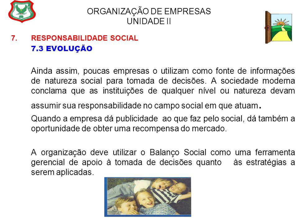 ORGANIZAÇÃO DE EMPRESAS UNIDADE II 7. RESPONSABILIDADE SOCIAL 7.3 EVOLUÇÃO Ainda assim, poucas empresas o utilizam como fonte de informações de nature
