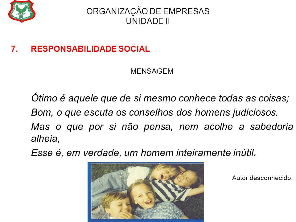 ORGANIZAÇÃO DE EMPRESAS UNIDADE II 7. RESPONSABILIDADE SOCIAL MENSAGEM Ótimo é aquele que de si mesmo conhece todas as coisas; Bom, o que escuta os co