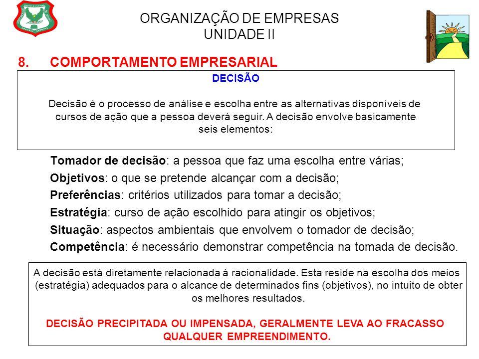 ORGANIZAÇÃO DE EMPRESAS UNIDADE II 8. COMPORTAMENTO EMPRESARIAL Tomador de decisão: a pessoa que faz uma escolha entre várias; Objetivos: o que se pre
