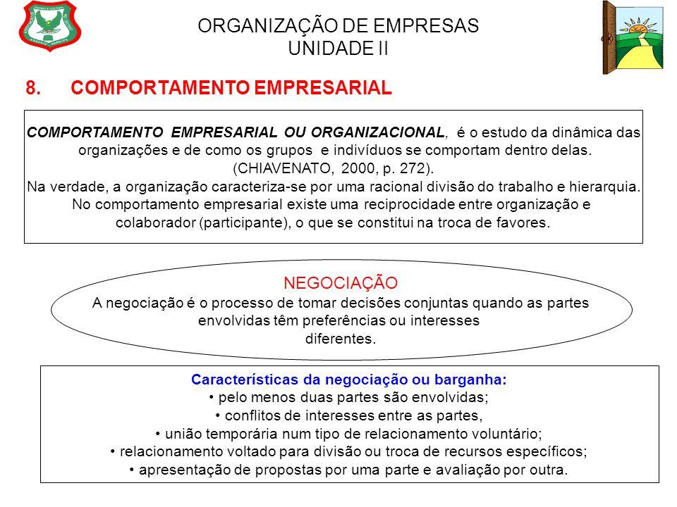 ORGANIZAÇÃO DE EMPRESAS UNIDADE II 8. COMPORTAMENTO EMPRESARIAL COMPORTAMENTO EMPRESARIAL OU ORGANIZACIONAL, é o estudo da dinâmica das organizações e