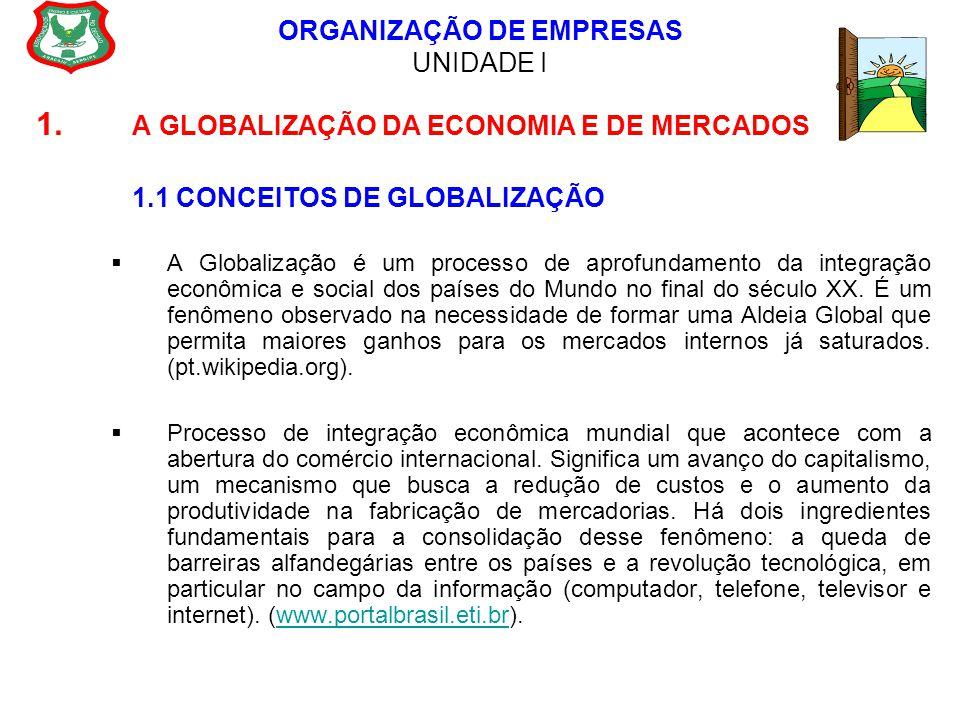 ORGANIZAÇÃO DE EMPRESAS UNIDADE I 1. A GLOBALIZAÇÃO DA ECONOMIA E DE MERCADOS 1.1 CONCEITOS DE GLOBALIZAÇÃO  A Globalização é um processo de aprofund
