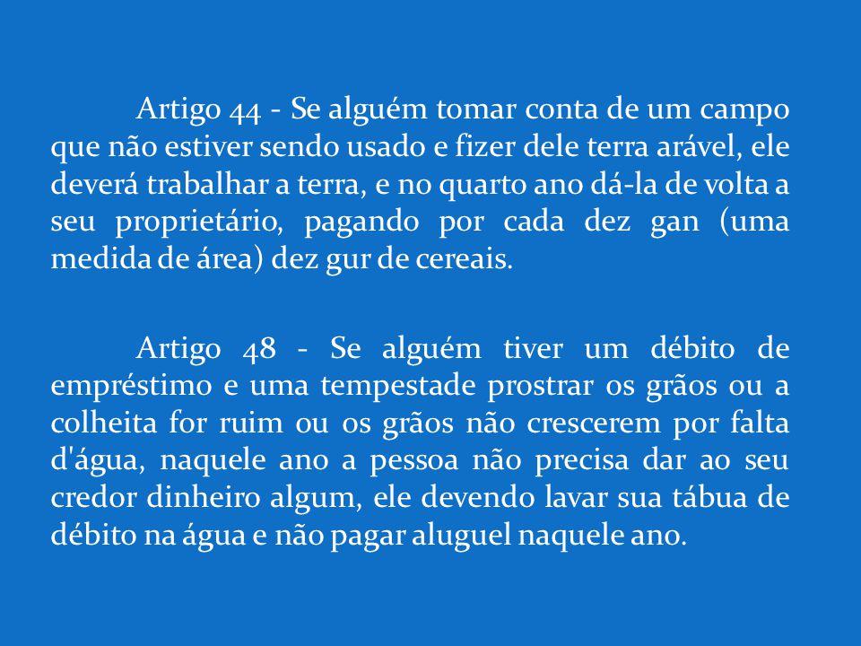 Artigo 44 - Se alguém tomar conta de um campo que não estiver sendo usado e fizer dele terra arável, ele deverá trabalhar a terra, e no quarto ano dá-