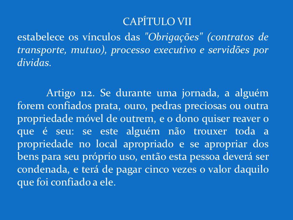 CAPÍTULO VII estabelece os vínculos das
