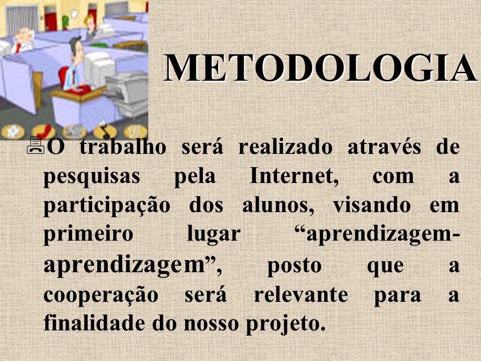 METODOLOGIA  O trabalho será realizado através de pesquisas pela Internet, com a participação dos alunos, visando em primeiro lugar aprendizagem- aprendizagem , posto que a cooperação será relevante para a finalidade do nosso projeto.