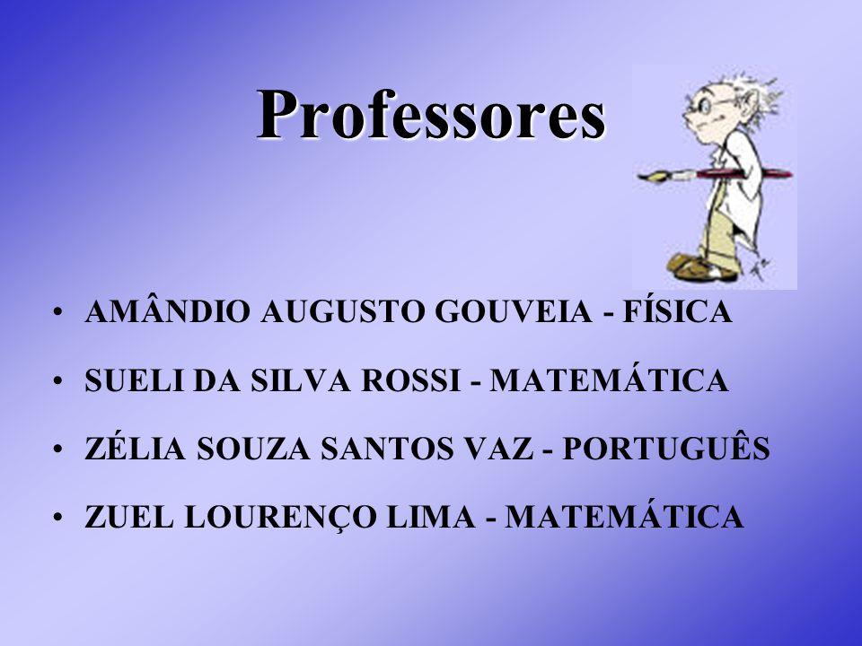 Professores AMÂNDIO AUGUSTO GOUVEIA - FÍSICA SUELI DA SILVA ROSSI - MATEMÁTICA ZÉLIA SOUZA SANTOS VAZ - PORTUGUÊS ZUEL LOURENÇO LIMA - MATEMÁTICA