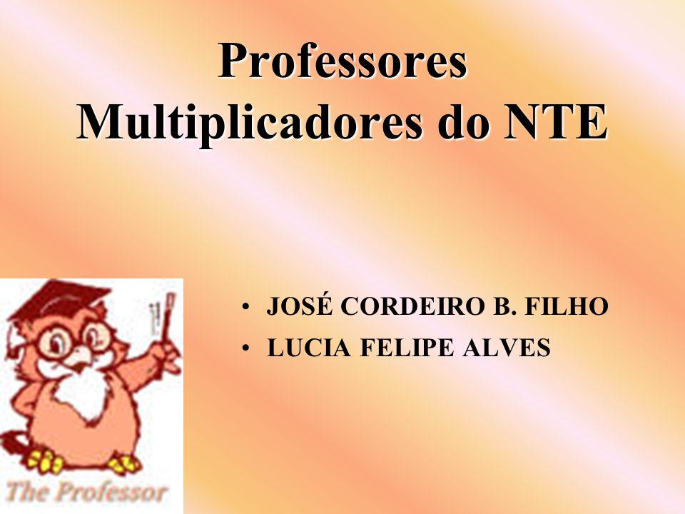 Professores Multiplicadores do NTE JOSÉ CORDEIRO B. FILHO LUCIA FELIPE ALVES