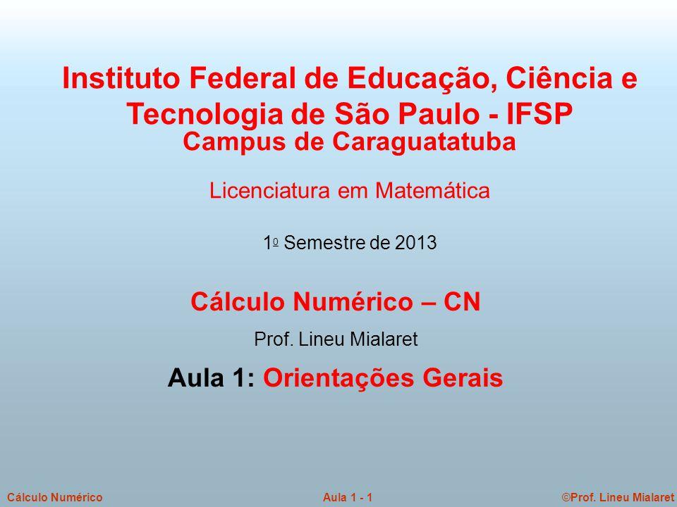 ©Prof. Lineu MialaretAula 1 - 1Cálculo Numérico Cálculo Numérico – CN Prof. Lineu Mialaret Aula 1: Orientações Gerais Instituto Federal de Educação, C