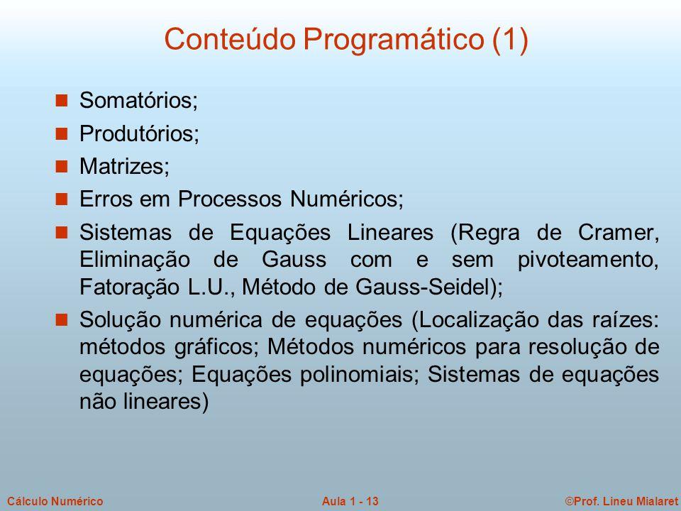 ©Prof. Lineu MialaretAula 1 - 13Cálculo Numérico Conteúdo Programático (1) n Somatórios; n Produtórios; n Matrizes; n Erros em Processos Numéricos; n