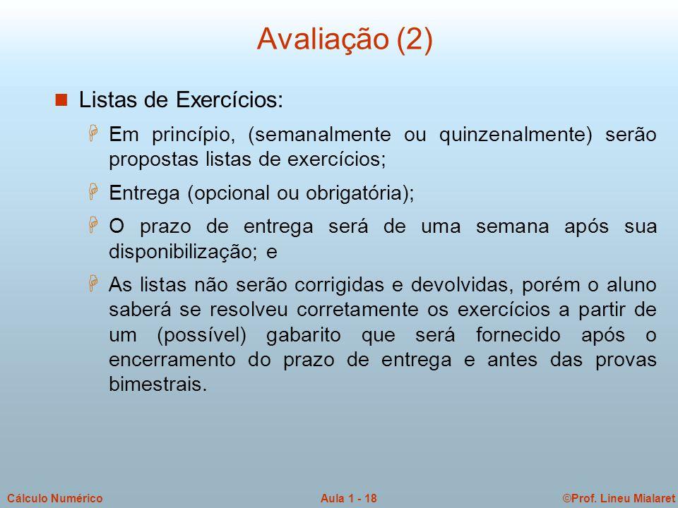 ©Prof. Lineu MialaretAula 1 - 18Cálculo Numérico Avaliação (2) n Listas de Exercícios: H Em princípio, (semanalmente ou quinzenalmente) serão proposta